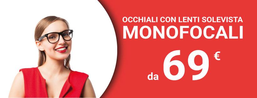 Promozione occhiali monofocali da 69€